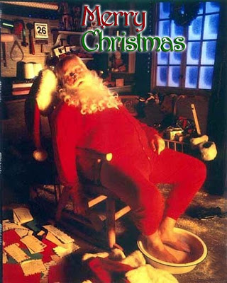 Picture of tired Santa Claus
