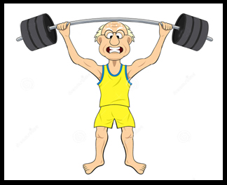 picture of old man lifting weights